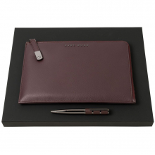 Набор Hugo Boss: конференц-папка с блокнотом А5 и ручка, бордовый