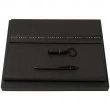 Набор Ribbon: папка с блокнотом А4, ручка и флешка, черный