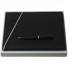 Набор Spring: папка с блокнотом А5 и ручка, черный