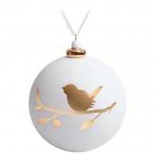 Елочный шар с фигуркой «Снегирь на ветке», 10 см, белый с золотистым