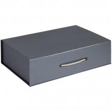 Коробка Case, подарочная, темно-серебристая