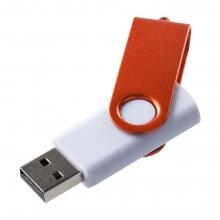 Флешка Twist Color, белая с оранжевым, 16 Гб