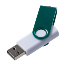 Флешка Twist Color, белая с зеленым, 8 Гб