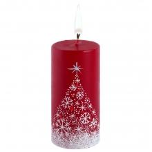Свеча ручной работы «Снежный лес», в форме цилиндра