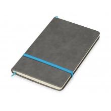 Блокнот Color линованный А5 в твердой обложке с резинкой, серый/синий