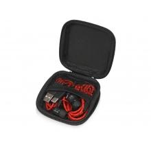 Набор с наушниками и зарядным кабелем 3-в-1 In motion, красный