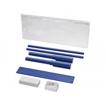 Набор «Mindy»: ручки шариковые, карандаши, линейка, точилка, ластик, синий