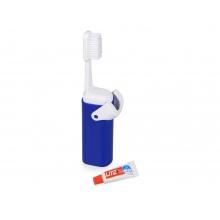 Складная зубная щетка с пастой Clean Box, синий/белый