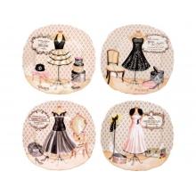 Набор из четырех десертных тарелок «Высокая мода»