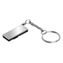 Флешка с мини чипом, поворотный механизм, зеркальное покрытие, 16 Гб, серебристый