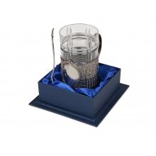 Подстаканник с хрустальным стаканом Базовый-М, серебристый/прозрачный
