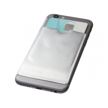 Бумажник для карт с RFID-чипом для смартфона, серебристый