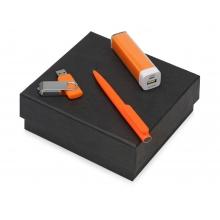 Подарочный набор On-the-go с флешкой, ручкой и зарядным устройством, оранжевый