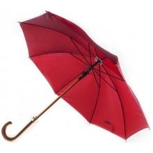 Зонт-трость с деревянной изогнутой ручкой, полуавтомат, цвет купола бордовый 208 С