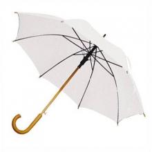 Зонт-трость с деревянной изогнутой ручкой, полуавтомат, цвет купола белый
