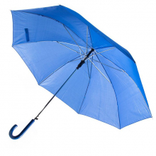 Зонт-трость с пластиковой изогнутой ручкой, полуавтомат, цвет ручки и купола синий 286 С