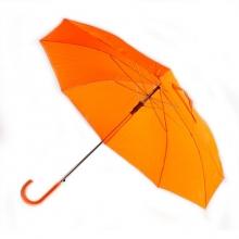 Зонт-трость с пластиковой изогнутой ручкой, полуавтомат, цвет ручки и купола оранжевый 172 С
