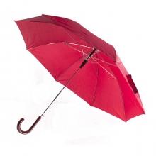 Зонт-трость с пластиковой изогнутой ручкой, полуавтомат, цвет ручки и купола бордовый 1955 С