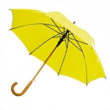 Зонт-трость с деревянной изогнутой ручкой, полуавтомат, цвет купола жёлтый