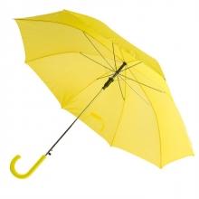 Зонт-трость с пластиковой изогнутой ручкой, полуавтомат, цвет ручки и купола жёлтый Yellow С