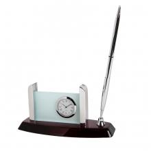 Часы с подставкой для визиток и авторучкой