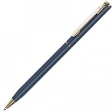 SLIM, ручка шариковая, синий (мокрый асфальт)/золотистый, металл
