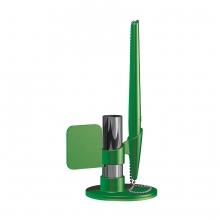 FLAG, ручка шариковая с держателем, зеленый, пластик