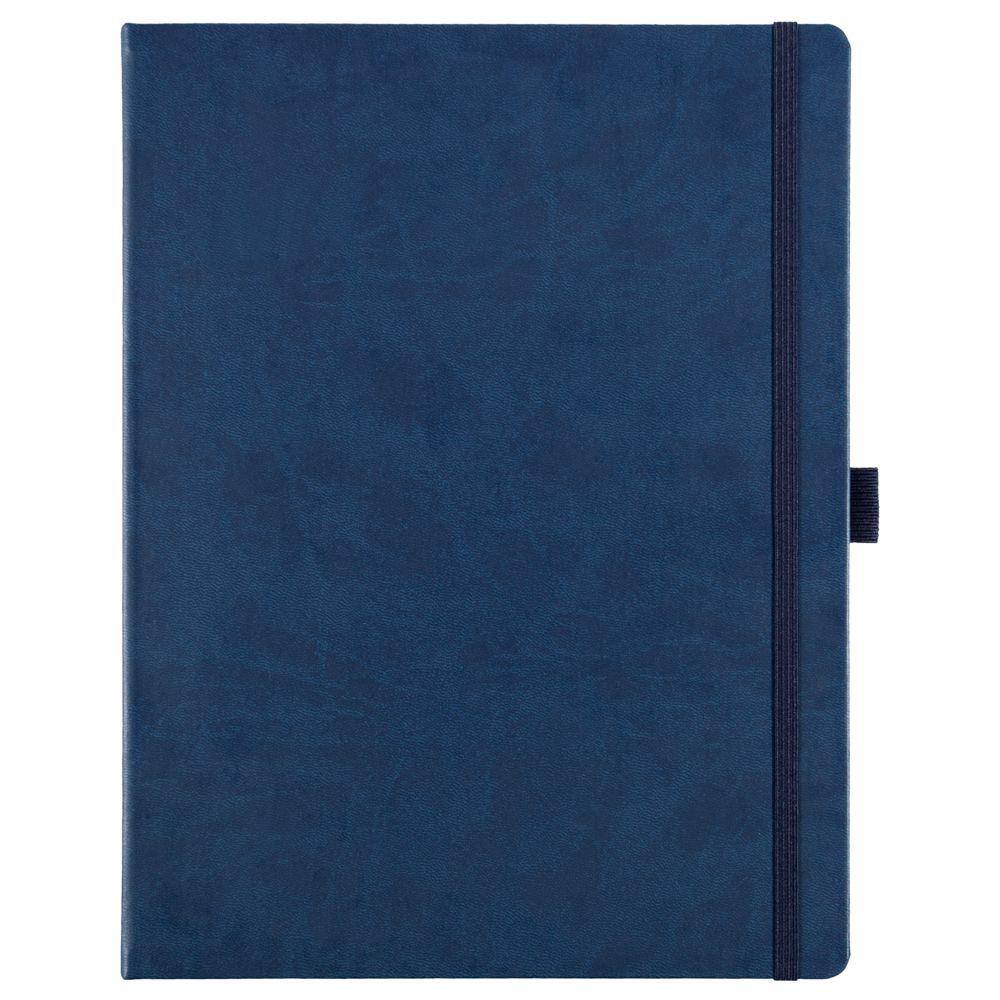 Блокнот Freenote Maxi, в линейку, синий, синий, искусственная кожа