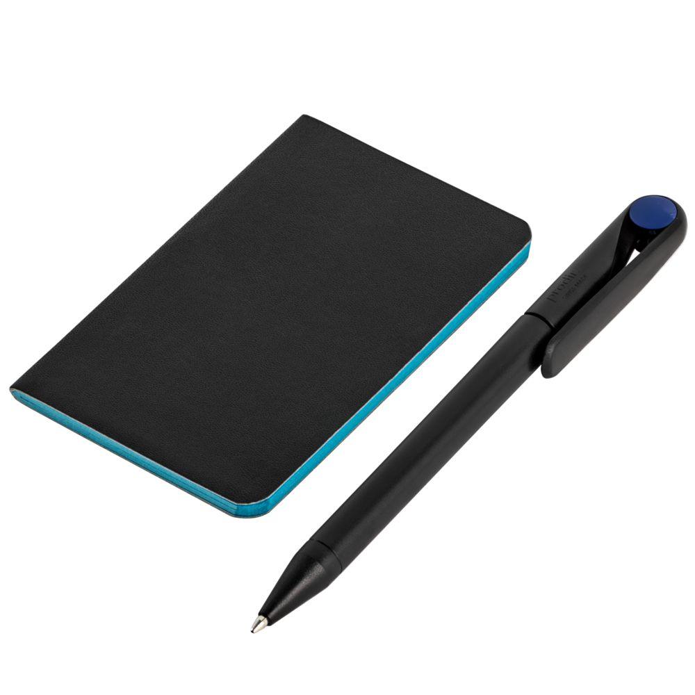 Блокнот Excentrica, черный с голубым, голубой, бумага