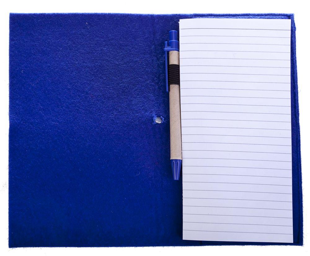 Блокнот Felt с ручкой, синий, синий, пластик; ручка - картон; блокнот - фетр