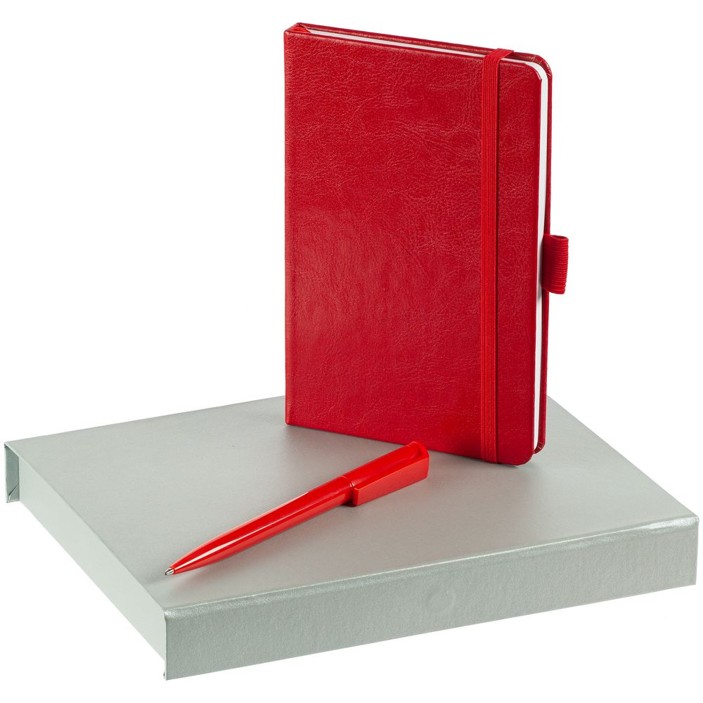 Набор Office Helper, красный, , искусственная кожа; пластик; переплетный картон