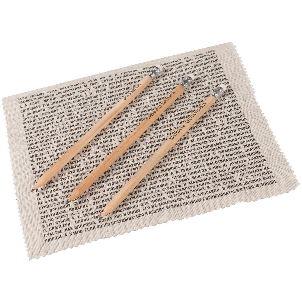 Набор «Мастера слова», русские авторы, , дерево; лен, дерево, кожа