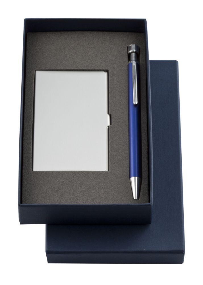 Набор Join: футляр для визиток и шариковая ручка, синий, , предметы - металл, коробка - картон, кашированный бумагой
