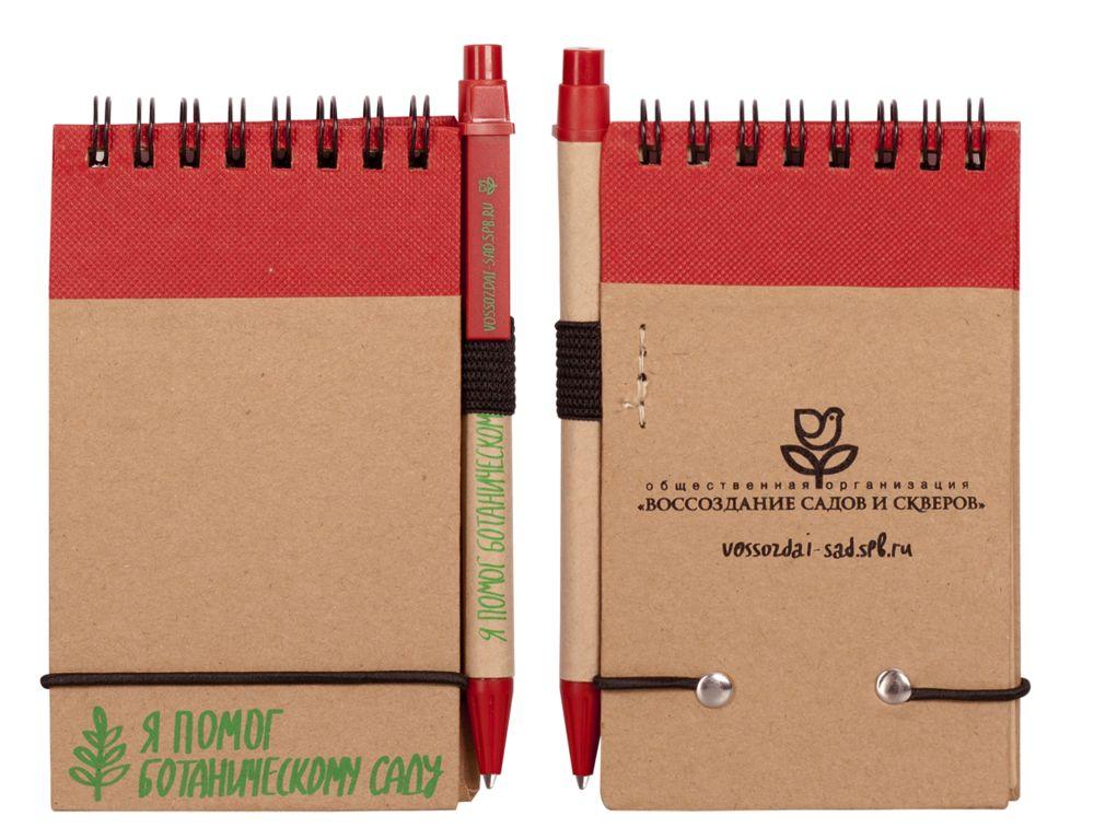 Блокнот на кольцах Eco Note с ручкой, красный, красный, картон; пластик