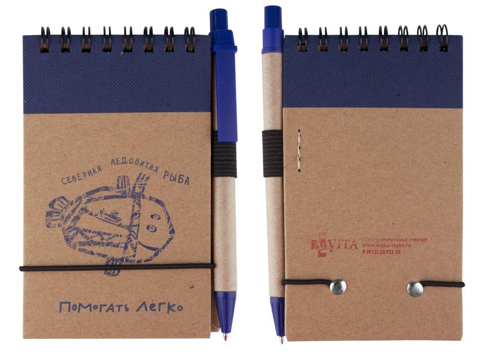 Блокнот на кольцах Eco Note с ручкой, синий, синий, картон; пластик