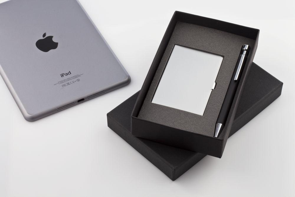 Набор Join: футляр для визиток и шариковая ручка, черный, , предметы - металл, коробка - картон, кашированный бумагой