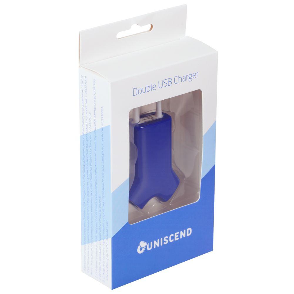 Сетевое зарядное устройство Uniscend Double USB, синее, синий, пластик