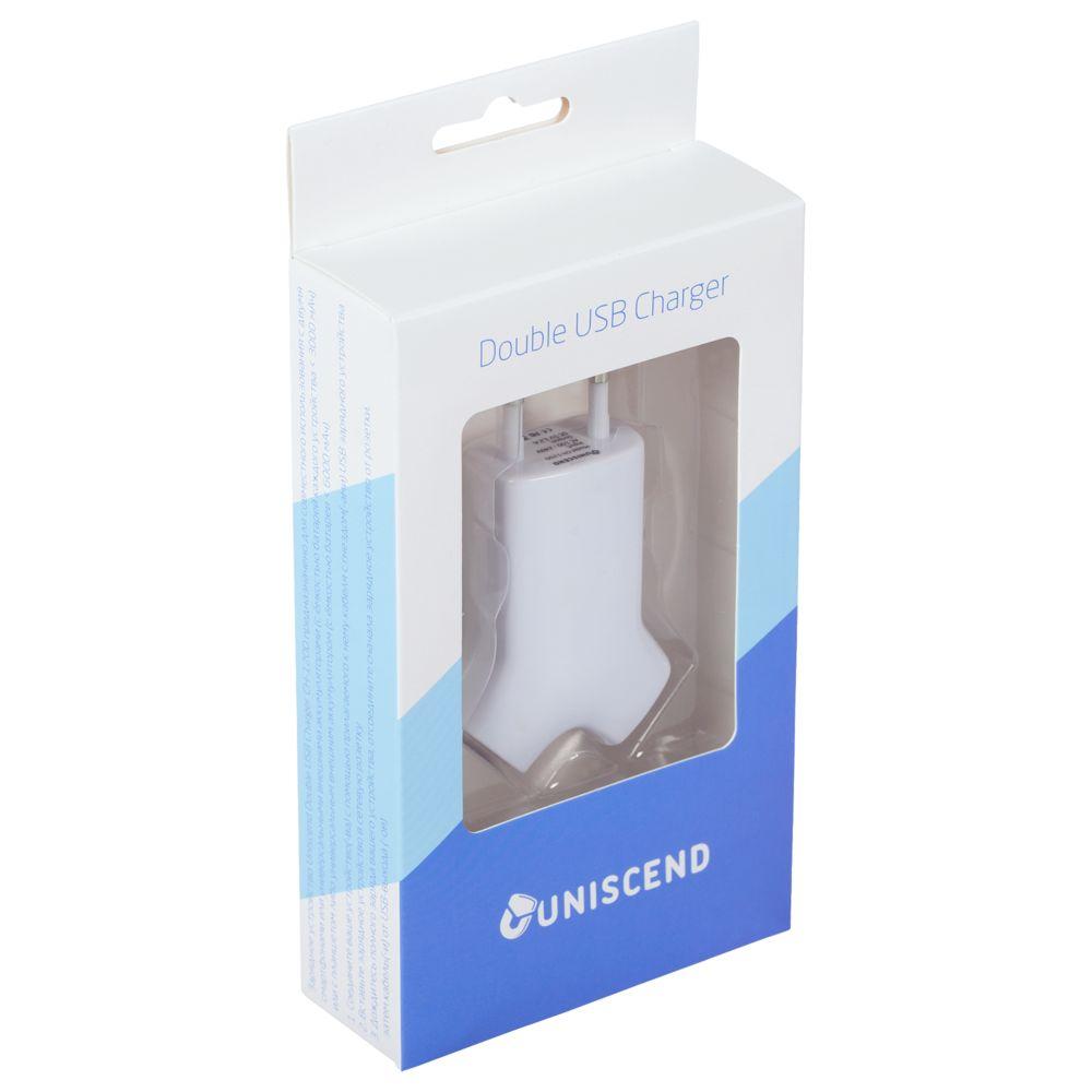 Сетевое зарядное устройство Uniscend Double USB, белое, , пластик
