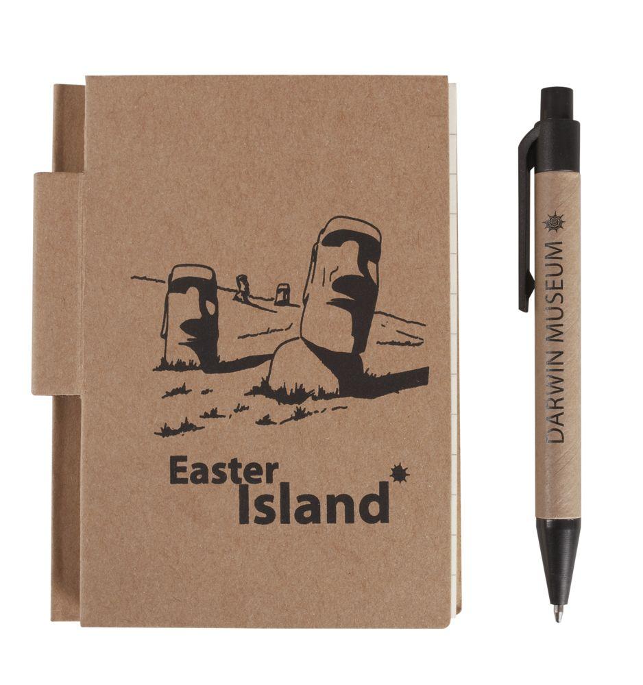 Мини-блокнот Eco Light c ручкой с черными элементами, черный, картон; пластик