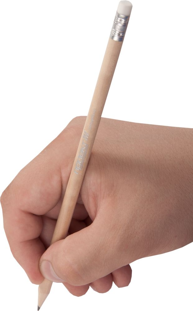 Карандаш простой Hand Friend с ластиком, неокрашенный, , дерево