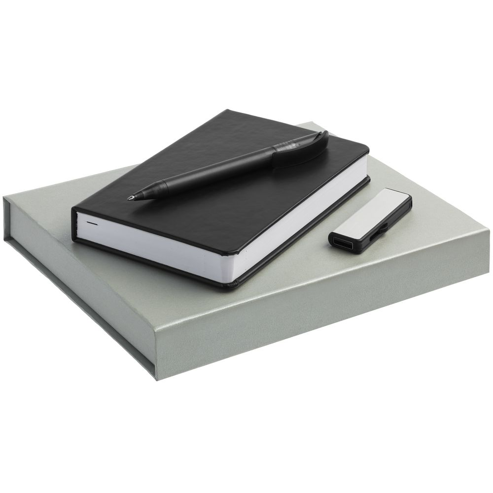 Набор Basis Mini: ежедневник, флешка и ручка, черный, , ежедневник - искусственная кожа; ручка - пластик; флешка - металл; коробка - картон