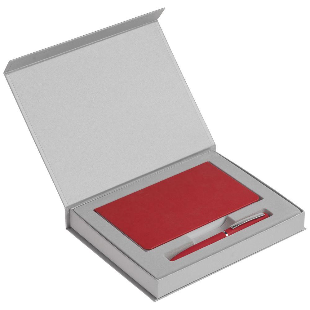 Набор Basis Mini: ежедневник и ручка, красный, , пластик, покрытие софт-тач; картон; искусственная кожа
