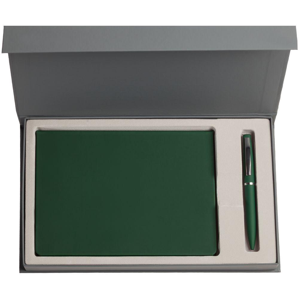 Набор Shall, зеленый, , ежедневник - искусственная кожа; ручка - металл; покрытие софт-тач; коробка - картон