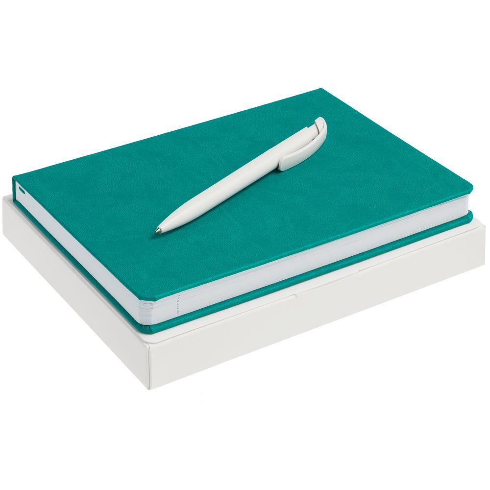 Набор New Brand, бирюзовый, , ежедневник - искусственная кожа; ручка - пластик; коробка - картон