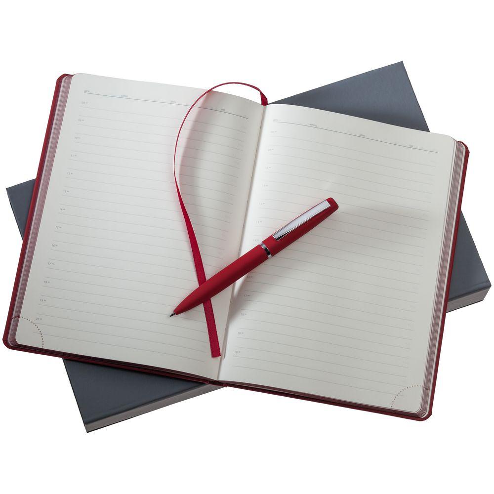 Набор Shall, красный, , ежедневник - искусственная кожа; ручка - металл; покрытие софт-тач; коробка - картон