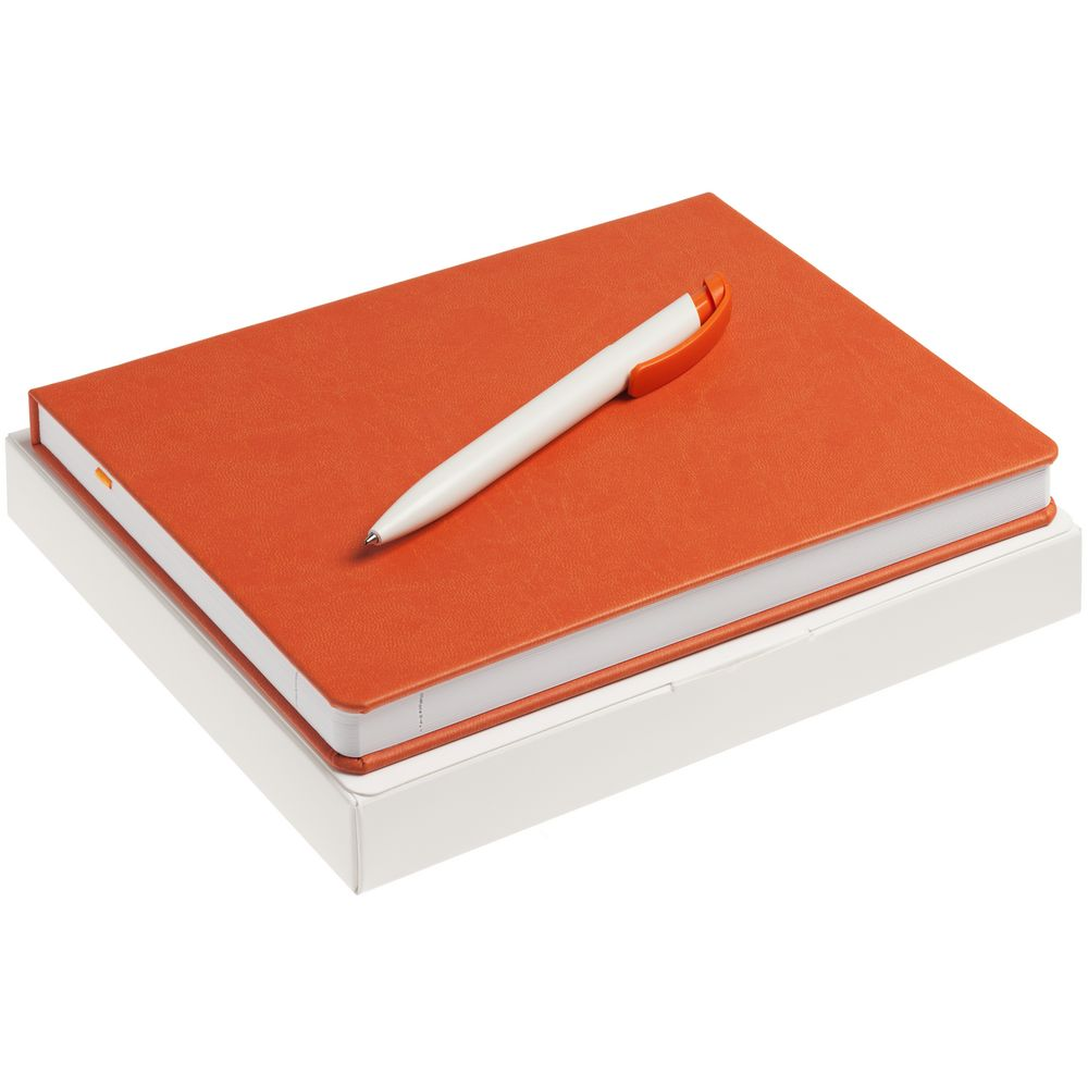 Набор New Brand, оранжевый, , ежедневник - искусственная кожа; ручка - пластик; коробка - картон