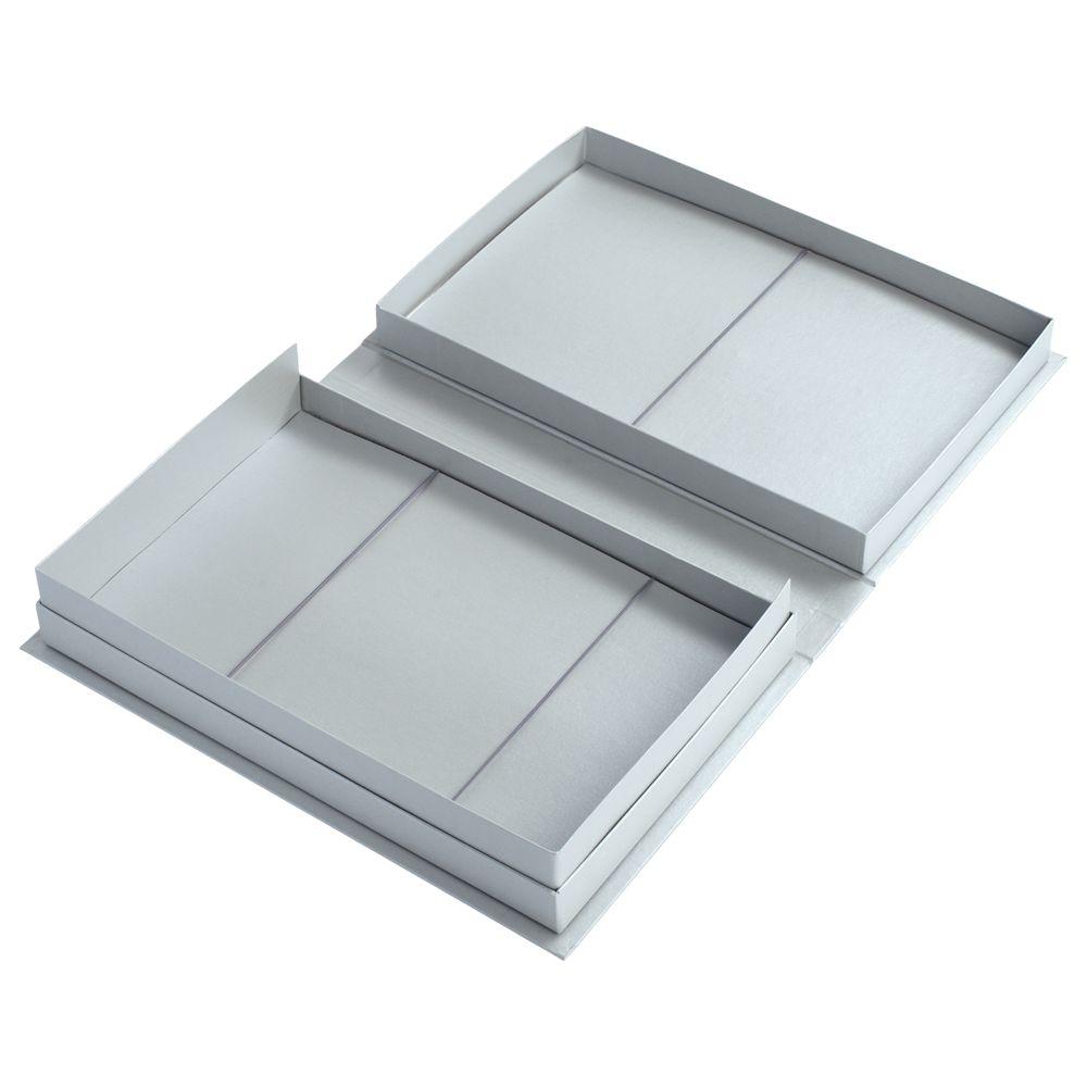 Коробка «Блеск» под набор, серебристая, серебристый, переплетный картон