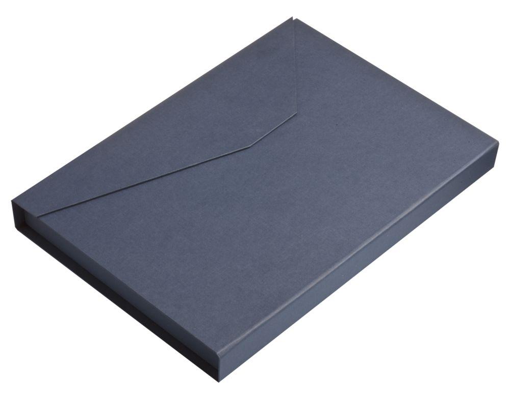 Коробка Trio под ежедневник, визитницу и ручку, синяя, синий, переплетный картон