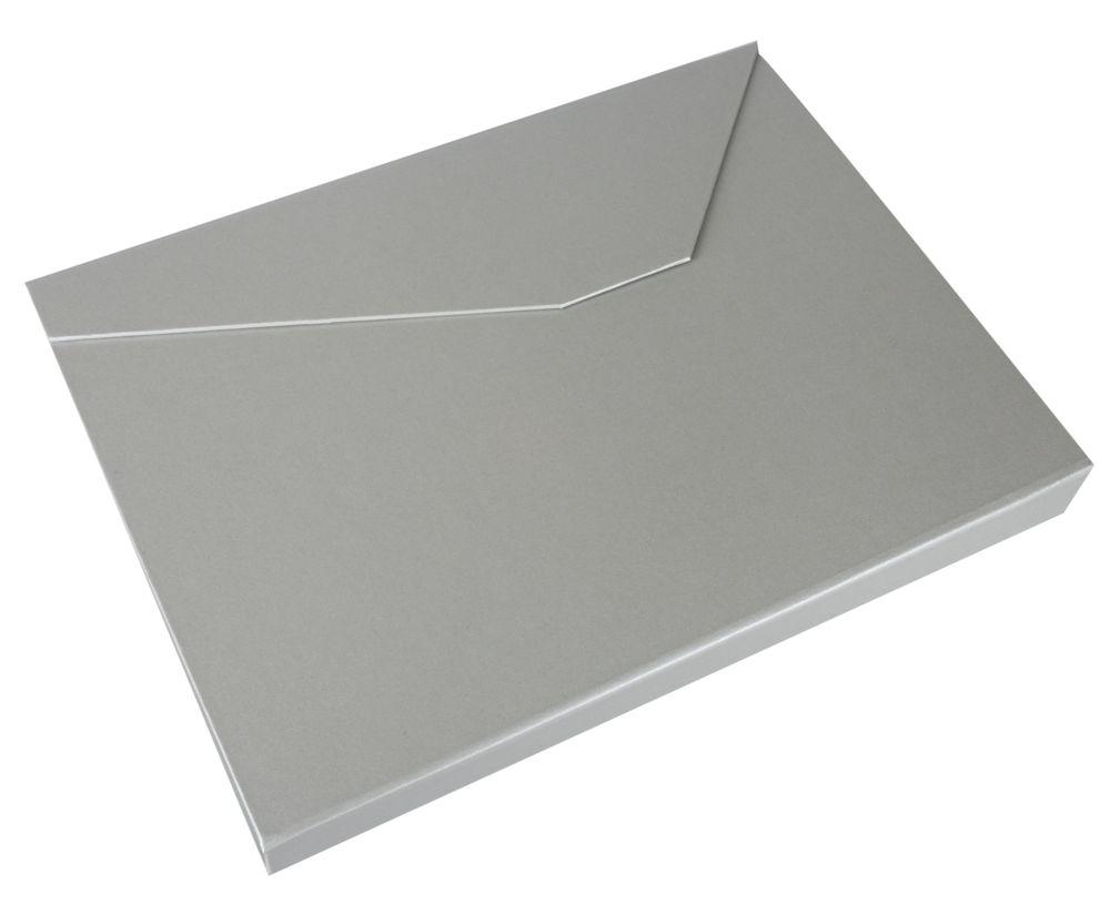 Коробка Trio под ежедневник, визитницу и ручку, серебристая, серебристый, переплетный картон