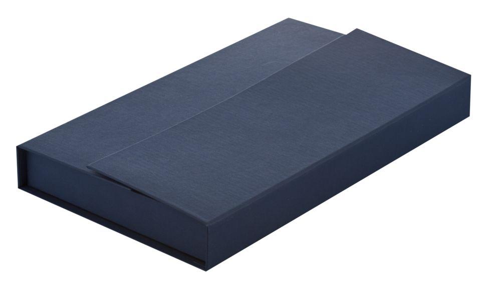 Коробка подарочная под ежедневник, флешку и ручку, синяя, , переплетный картон